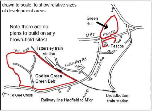 Mottram and Godley Green areas planned for development are within the red lines shown in the map below