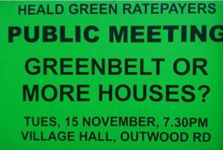 Heald Green ratepayers public meeting Greenbelt or more houses tues 15 november