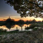 Sunset at a pond in Godley Green